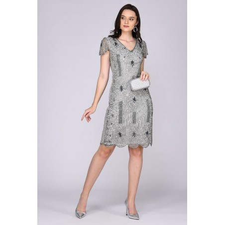 Sparkling Speakeasy Cocktail Dress in Silver