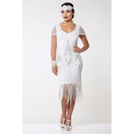 Jazz Age Beaded Cocktail Dress in White
