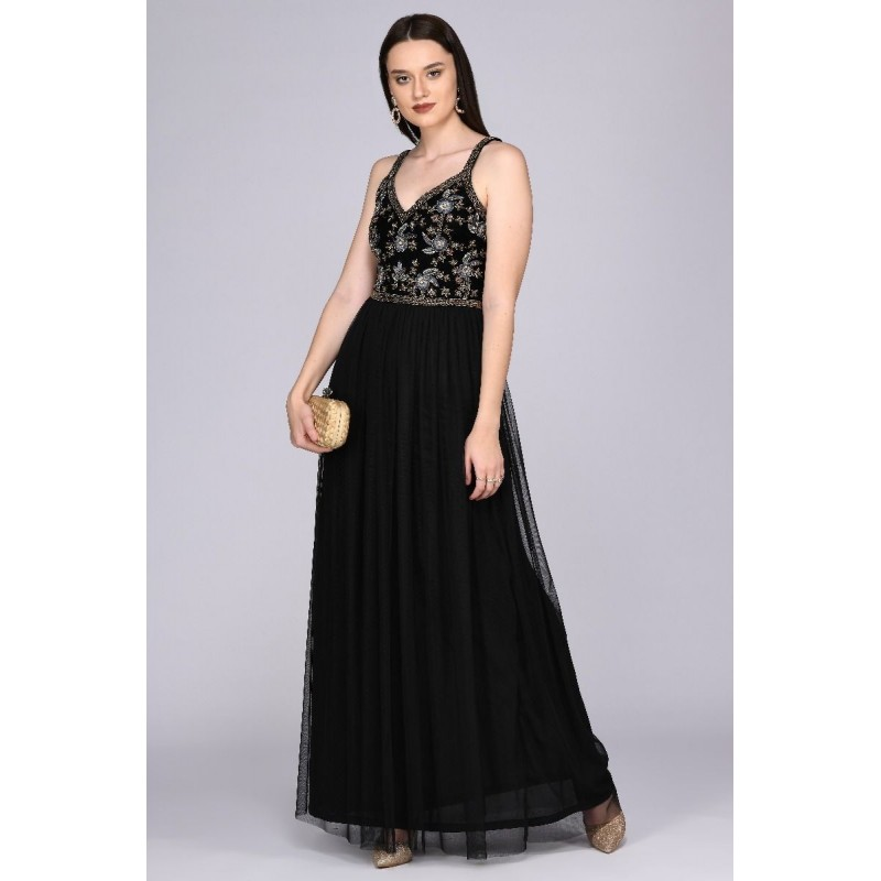 Princesa Beaded Floral Maxi Dress in Black