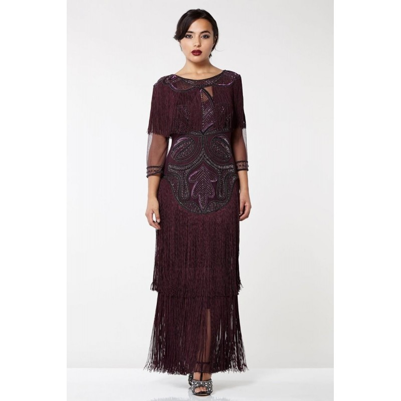 Beaded Great Gatsby Evening Gown in Plum