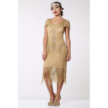 Jazz Age Beaded Cocktail Dress in Gold