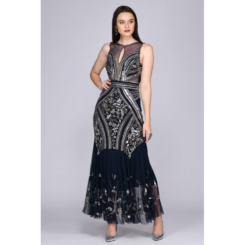 1920s Deco Embellished Gown in Navy