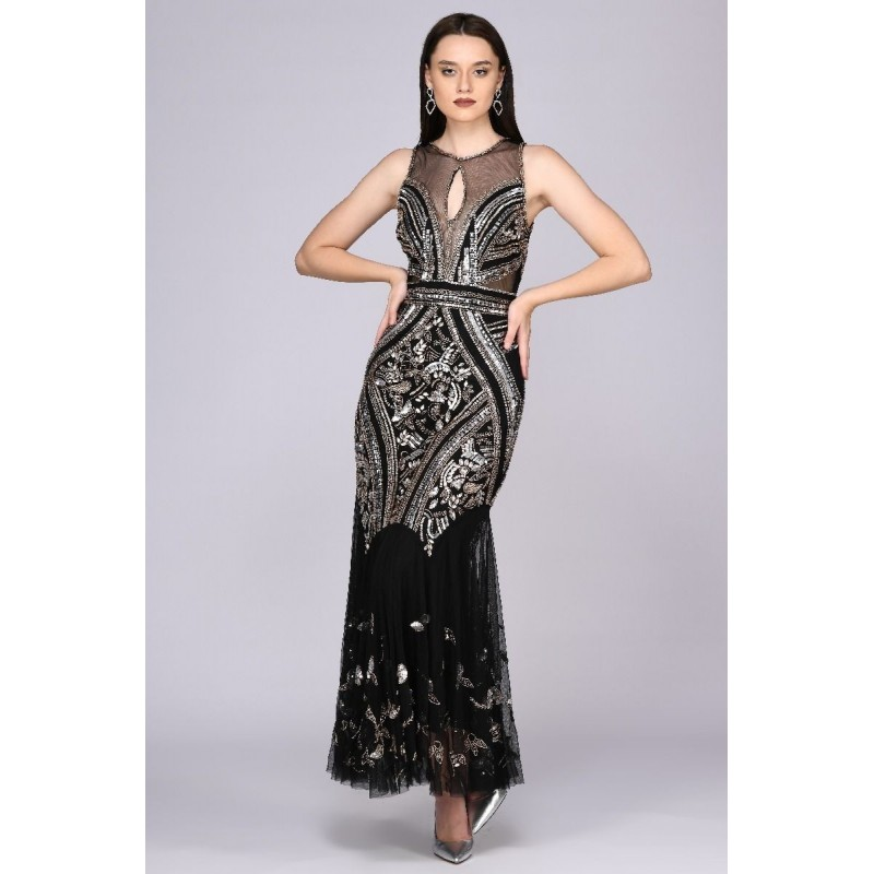 1920s Deco Embellished Gown in Black
