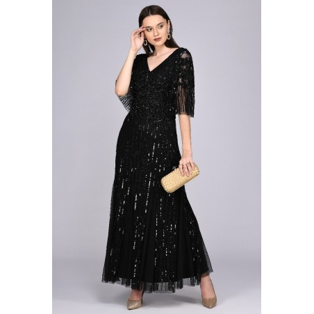 Feminina Gatsby Style Sequin Gown in Black