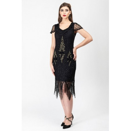 Jazz Age Beaded Cocktail Dress in Black