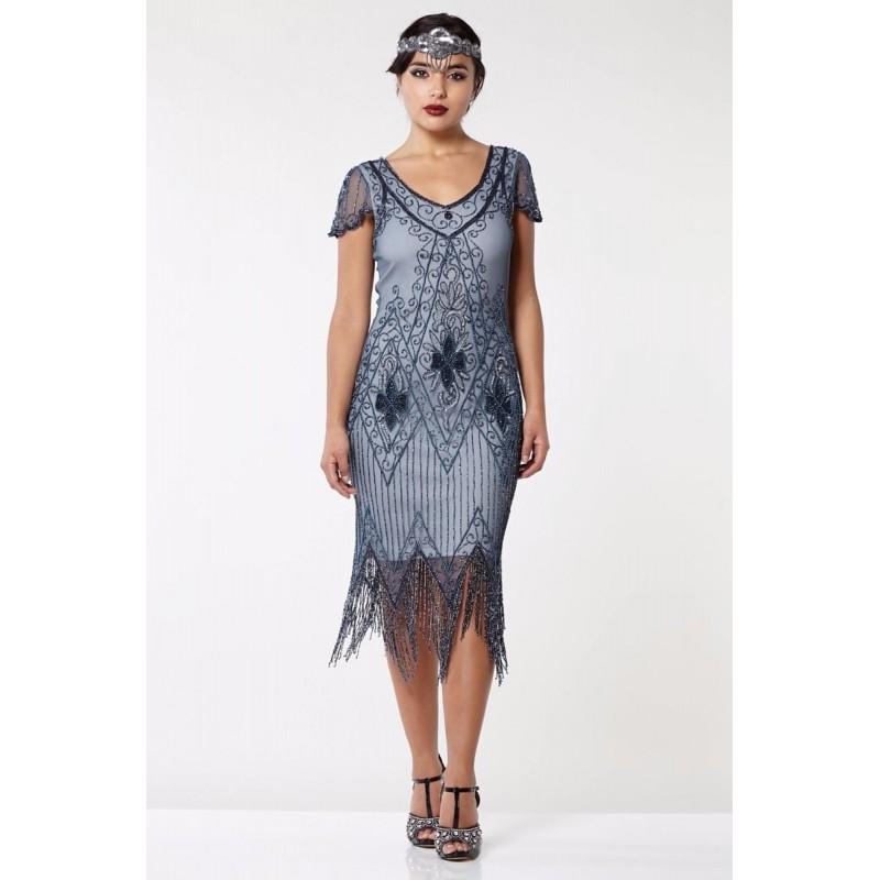 Jazz Age Beaded Cocktail Dress in Grey