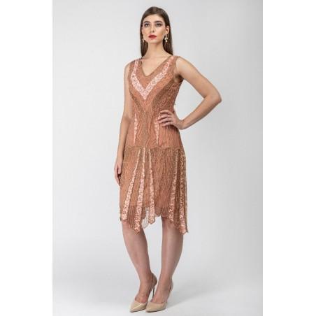 Gin Fizz Beaded Flapper Dress in Rose