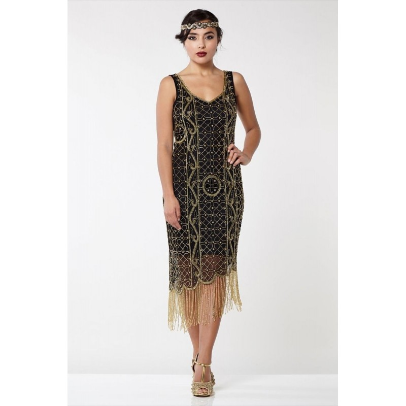 Empire State Fringe Flapper Dress in Black Gold