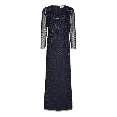 Genteel Art Deco Gown In Navy