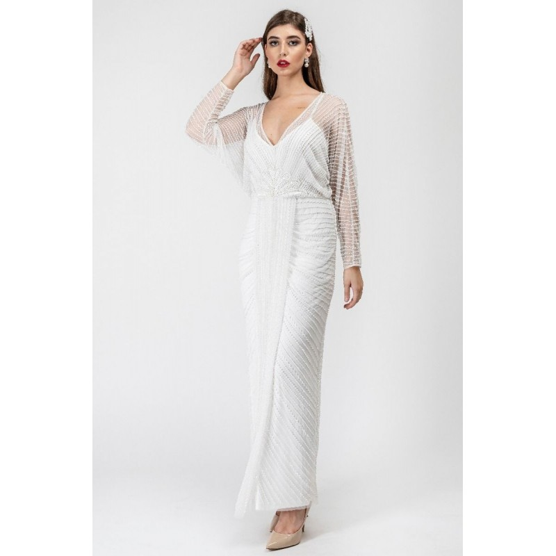 French 47 Embellished Gown in White