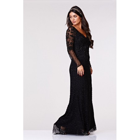 1920s Style Summer Tea Length Black/Rose Dress