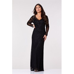 Daisy Beaded Gown in Black