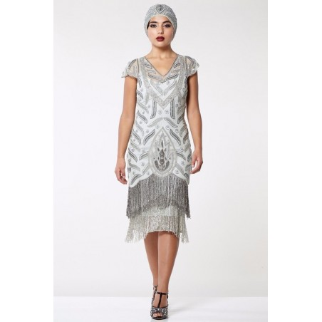 Embellished Art Deco Cocktail Dress in Grey Silver