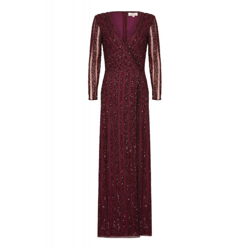 Golden Age Embellished Gown in Burgundy
