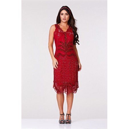 East Hampton Flapper Dress in Red