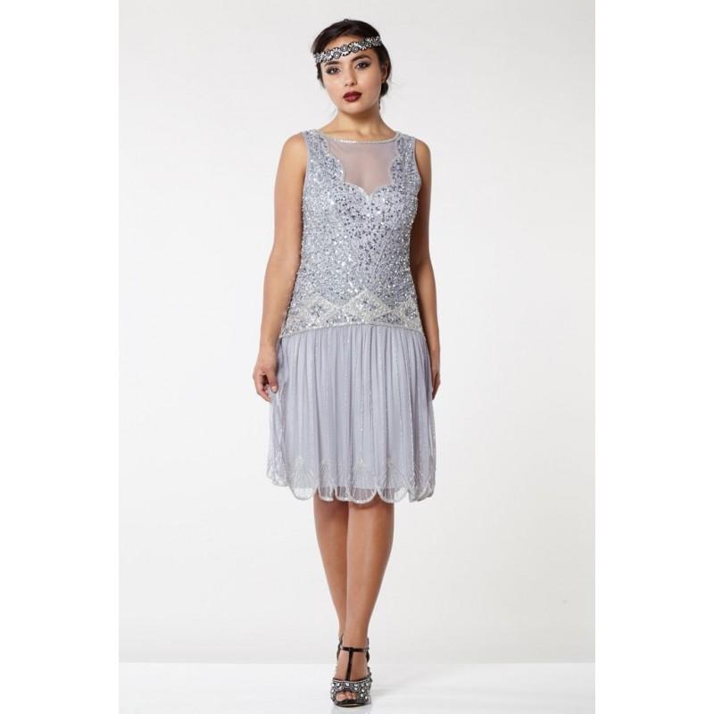 Novella Dropped Waist Flapper Dress in Lilac