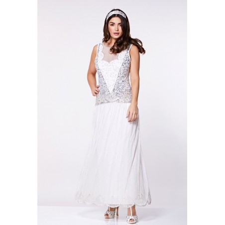 Novella Dropped Waist Flapper Gown in White
