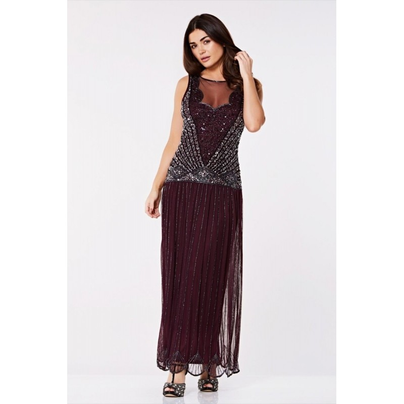 Novella Dropped Waist Flapper Gown in Plum