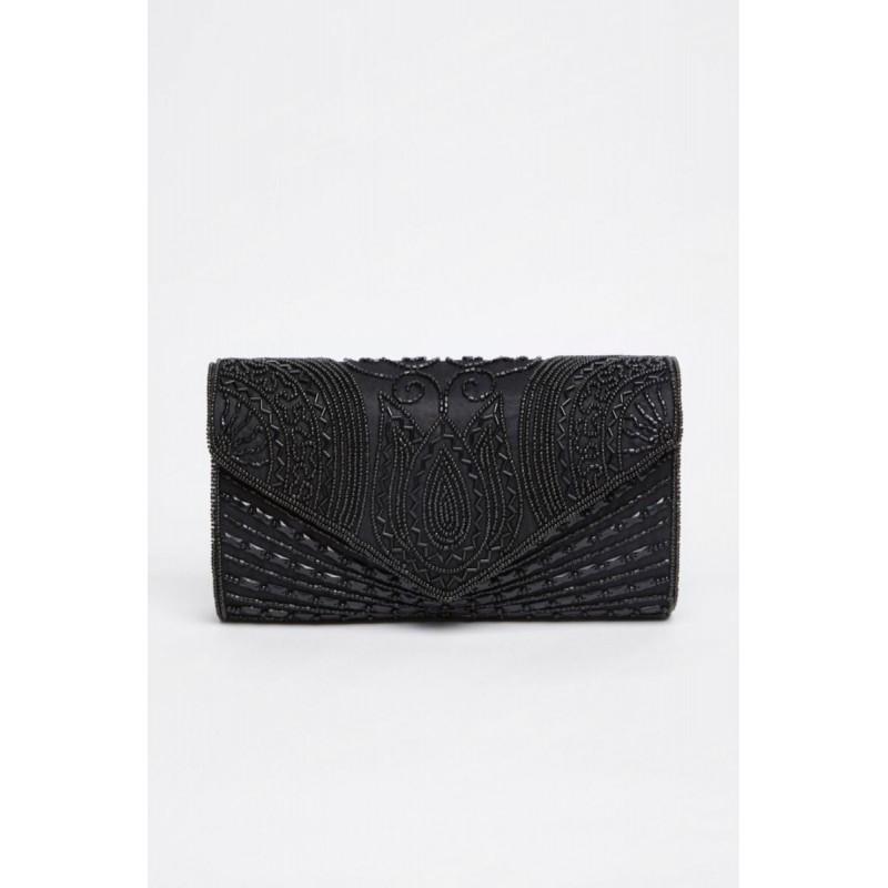 Glamorous Roaring Twenties Clutch Bag in Black