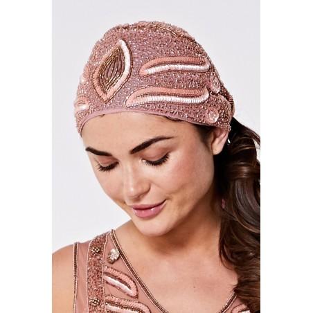 Femme Moderne Flapper Turban in Rose