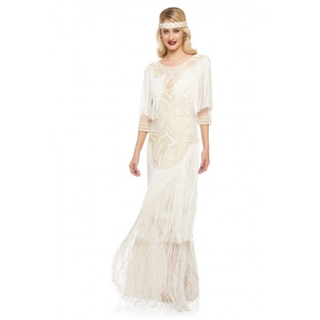 Beaded Great Gatsby Evening Gown in Cream