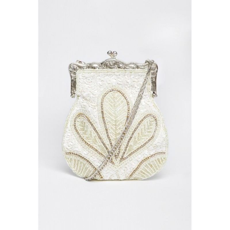 1920s Embellished Flapper Purse in Cream