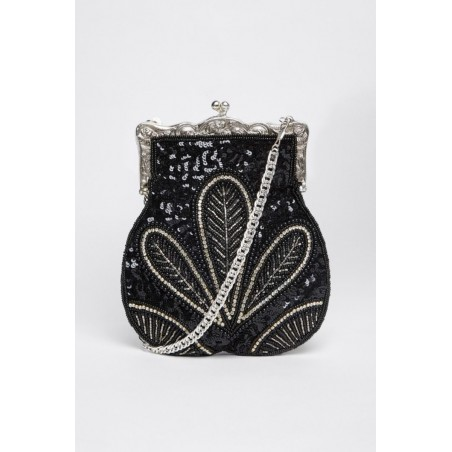 1920s Embellished Flapper Purse in Black