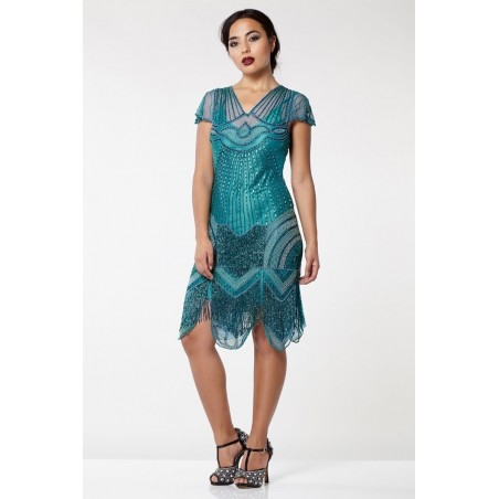 Glamorous Roaring Twenties Cocktail Dress in Teal