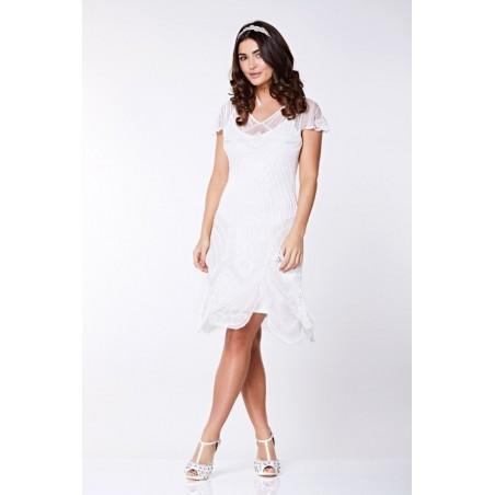 Glamorous Roaring Twenties Cocktail Dress in White