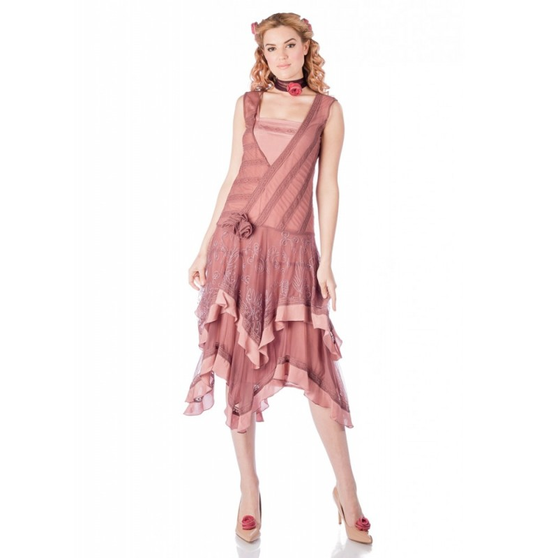 Charly 1920s Flapper Style Dress in Mauve