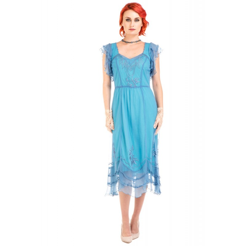 Olivia 1920s Flapper Style Dress in Turquoise