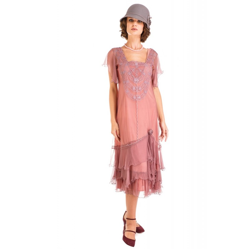 Alexa 1920s Flapper Style Dress in Mauve