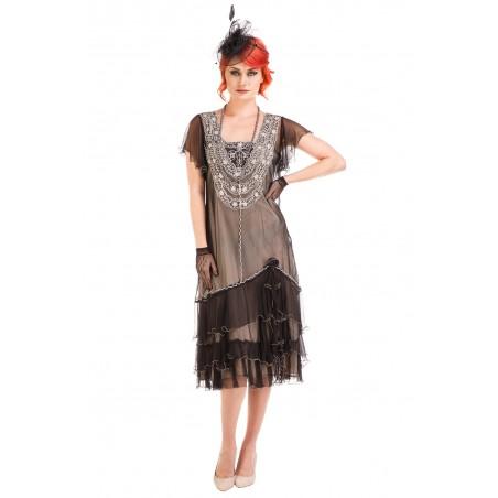 Alexa 1920s Flapper Style Dress in Black