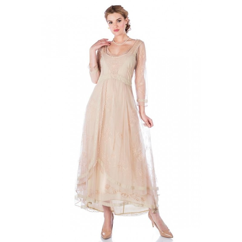 Edwardian Romance Lace Gown in Antique