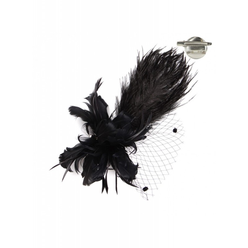 Timeless Charm Feather Fascinator in Black