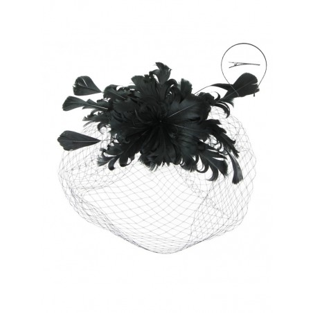 Moulin Rouge Feather Fascinator in Black