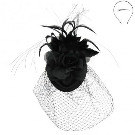 Enchantress Feather Birdcage Fascinator in Black