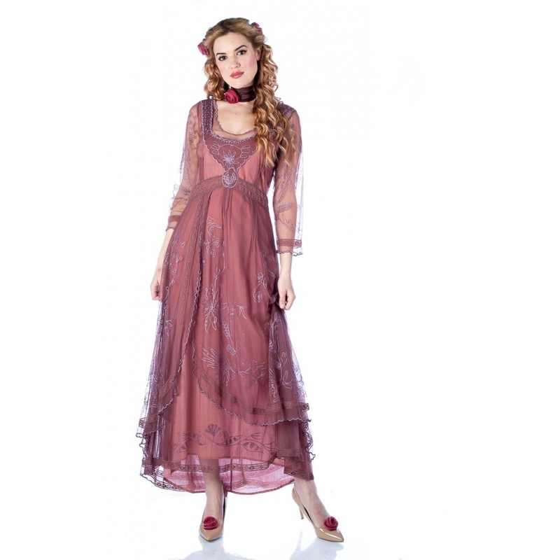 Edwardian Romance Lace Gown in Mauve