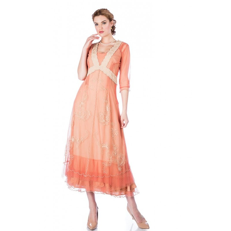 Embroidered High Tea Gown in Rose Gold