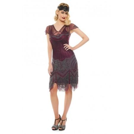 Glamorous Roaring Twenties Cocktail Dress in Plum