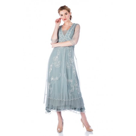 Embroidered High Tea Gown in Aqua